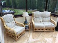 CANE CONSERVATORY FURNITURE, IN GREAT CONDITION, SOFA, CHAIR & COFFEE TABLE.
