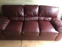 Ox blood leather 3 seater sofa