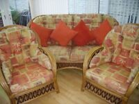 Three seater settee and two cane arm chairs cost £2000 when brought new