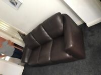 Dark Brown Leather Sofa and 2 Matching Armchairs