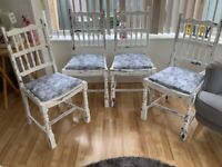 4 Shabby chic lovely white chairs new grey sparkly material on seats
