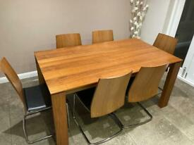 Calligaris Walnut Oblong Table and 6 Chairs