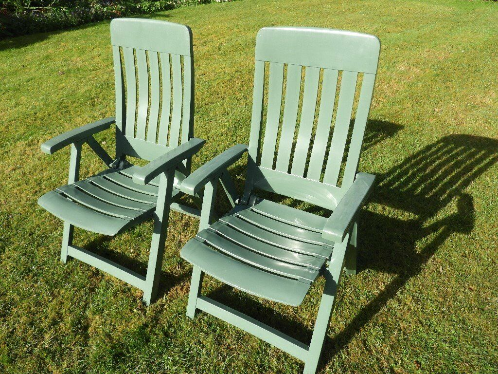Resin reclining garden chairs reclining plastic garden for Plastic garden furniture