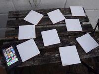 9 x white ceramic tiles 9.5 x 9.5cm