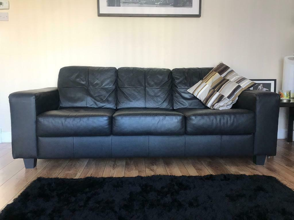 Marvelous Ikea Black Leather Sofa 3 Seater And Single Chair In Blantyre Glasgow Gumtree Home Interior And Landscaping Oversignezvosmurscom
