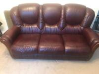 3 piece leather sofa and 2 chairs