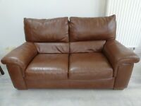 *NOW £500 - 2 brown leather sofas OR can sell individually £250 each