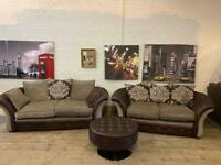LOVELY LEATHER AND FABRIC SOFA SET + FOOTSTOOL
