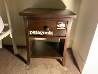 Small dark brown wood bedside table