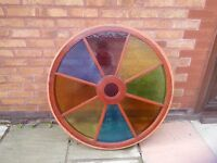 Cartwheel with coloured glass