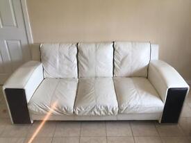 Leather sofa 3 piece , 3+2+1 seater white &black good condition
