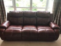 3 seater reclining brown leather sofa
