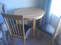 Round Dining Table & 2 Chairs, drop leaf,