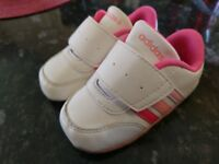 Adidas Neo V JogCribCF Infant Baby UK Size 3K Pink White. Boxed, minor signs of use. RRP £19.99