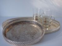 Silverware - Set of Two Trays and Silver Glasses