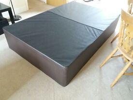 Divan bed base, small double size, 2 parts, easy transportation, faux brown leather.