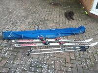 Skis and poles and bag. K2 Slalom 57 skis.