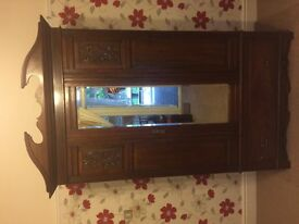 Antique Wardrobe With Large Mirror