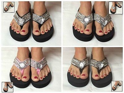 Crystal Studded Sandal (Black Wedge Womens Crystal Rhinestone Studded Bling Flip Flops Sandals Colors)