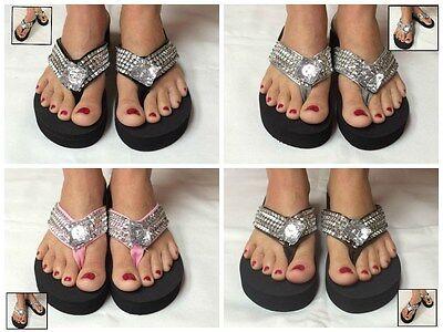 Black Wedge Womens Crystal Rhinestone Studded Bling Flip Flops Sandals Colors