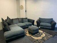 Grey & Black corner sofa cuddle chair & foot stool delivery 🚚 sofa suite couch furniture