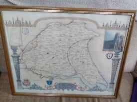 Framed reproduction coloured print, map of the old East Riding of Yorkshire
