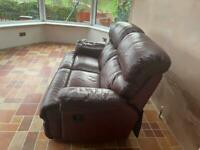 Two - two seater leather settee