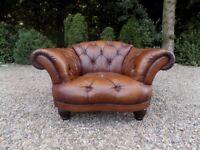 Beautiful Tetrad Oskar Brown Leather Chesterfield Club Chair DFS