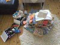 Sewing, textiles, knitting and fabric job lot