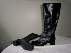 New Black Leather Boots Size 5