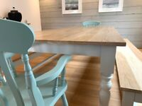 Farmhouse Kitchen Dining Table Set with Benches and Chairs Free Delivery Modern Oak Smooth