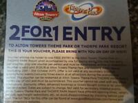 2 for 1 Entry Voucher - Alton Towers and Thorpe Park