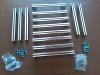 "GREAT QUALITY SET OF 13 KITCHEN /BEDROOM DRAWER HANDLES IN HEAVY CHROME PLATE. EACH ONE IS 8"" LONG."