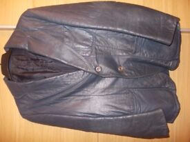 "Vintage heavy Royal Navy blue leather `blazer style' gent's coat. Medium 38""/40"""