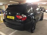 "2006 bmw x3 3.0d auto 20"" wheels blk on blk 1 off super spec satnav heated leathers tinted immaculat"