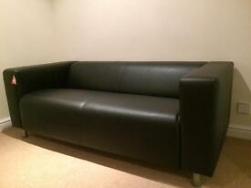 New Black Leather Ikea Sofa