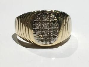 #1589 10K YELLOW & WHITE GOLD DIAMOND CLUSTER *SIZE 10 3/4* APPRAISED AT $2150.00 SELLING FOR $750.00!