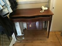 Antique bow fronted hall table with drawer