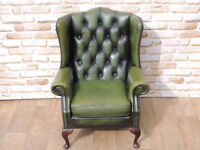 Genuine Leather Chesterfield High Back chair (Delivery)