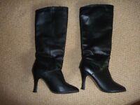 Ladies Heeled Black Leather Boots