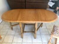 Solid Wood Drop Leaf Table & Chairs