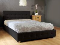Brand New Double Black Fabric Ottoman Storage Bed