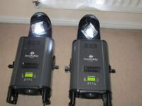 2x ADJ INNO ROLL HP (80WATT) 77 AND 78 HOURS OF USE WITH REMOTE AND 2X SPARE ROLLERSS