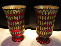Pair of Red/Gold Hurricane Vases