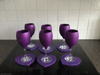 6 GLITTER WINE GLASSES & 6HEART SHAPED COASTERS PURPLE NEW IN BOX