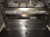 Brushed Steel Gas Fire Basket and coals 2nd hand but looks lovely when lit