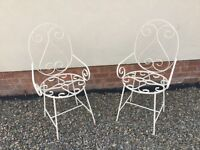 Bargain Reduced ! Vintage Painted Iron Garden Chairs