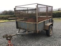 TRAILER 6BY4 ALL STEEL WITH REMOVABLE WIRE MESH SIDES,RAMP DOOR,LIGHTS,SAFETY CHAIN,SPARE WHEEL