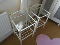 2x White metal frame bedside tables