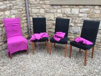 4 X CREAM HABITAT CHAIRS WITH BLACK COVERS + 4 PINK SPARE COVERS